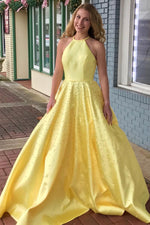 Yellow satin beads long prom dress yellow formal dress