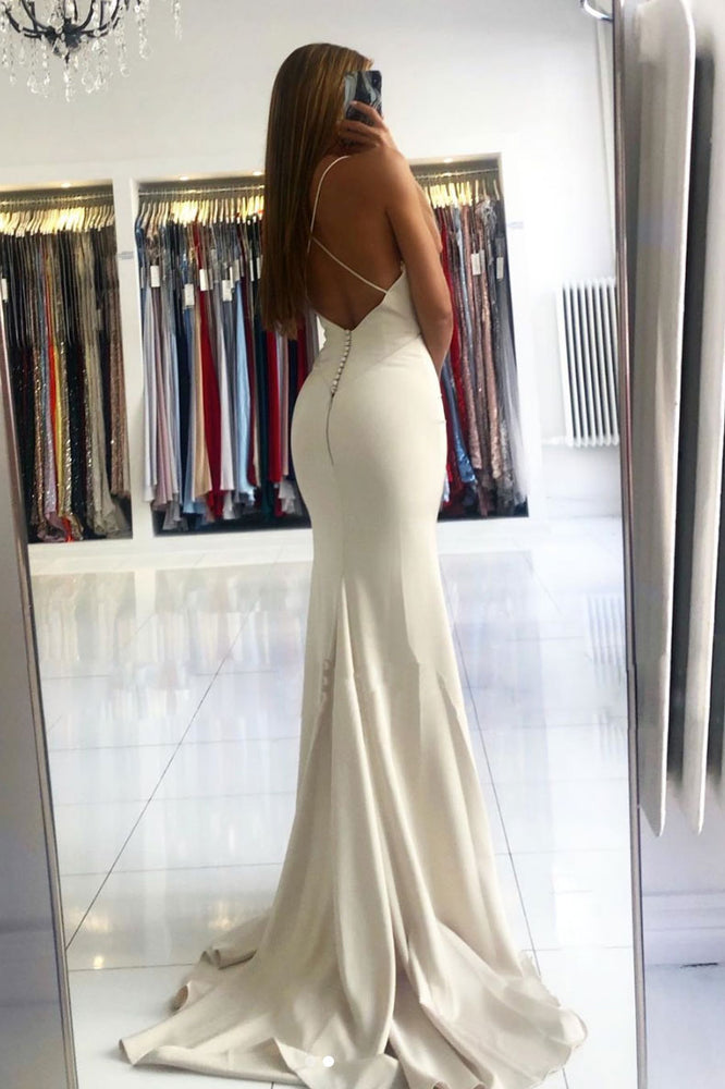 Simple v neck Ivory satin mermaid long prom dress