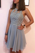 Gray chiffon lace short prom dress gray lace homecoming dress