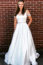 White v neck satin sequin beads long prom dress white evening dress
