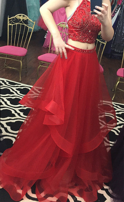 Custom made red two pieces sequin long prom dress, evening dress - shdress