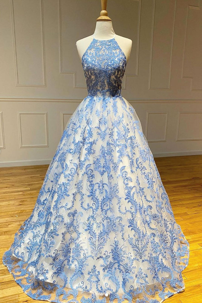 Blue high neck tulle lace long prom dress blue lace evening dress