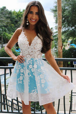 Blue v neck tulle lace short prom dress blue homecoming dress