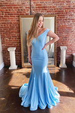 Blue satin long prom dress blue formal dress