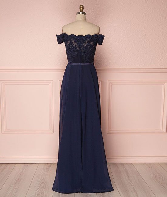 Dark blue off shoulder chiffon lace long prom dress, dark blue bridesmaid dress - shdress