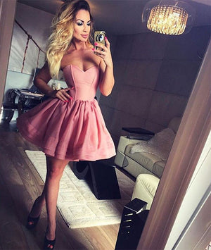 Cute sweetheart pink short prom dress, cute homecoming dress - shdress