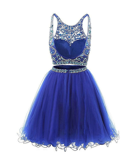 Blue two pieces tulle sequin beads short prom dress, blue homecoming - shdress
