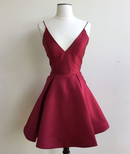 Simple v neck burgundy short prom dress, burgundy homecoming dress