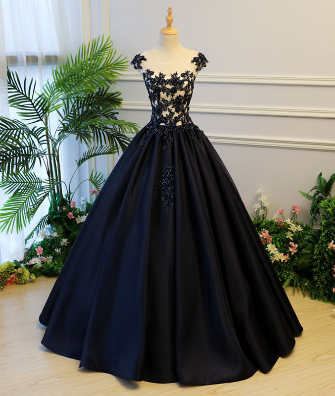 Black round neck satin long prom gown, black evening dress