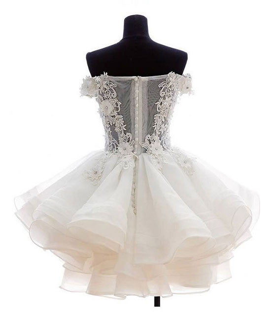 White sweetheart lace applique short prom dress, cute white ...