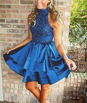 Blue high neck sequin beaded short prom dress, cute homecoming dress - shdress
