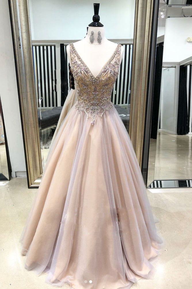 Champagne v neck tulle long prom dress, champagne evening dress