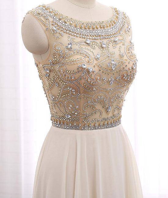 Champagne round neck chiffon beads long prom dress, champagne evening dress - shdress