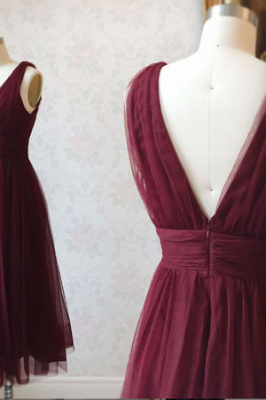 Simple burgundy tulle prom dress tulle burgundy formal dress