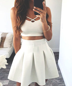 white two pieces short prom dress. cute homecoming dress - shdress