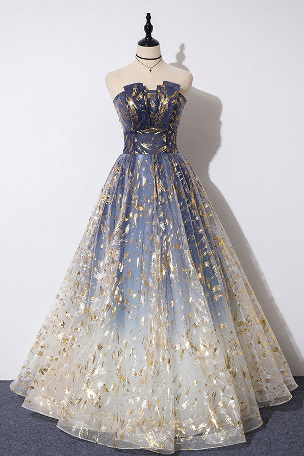 Unique tulle lace long prom dress tulle formal dress