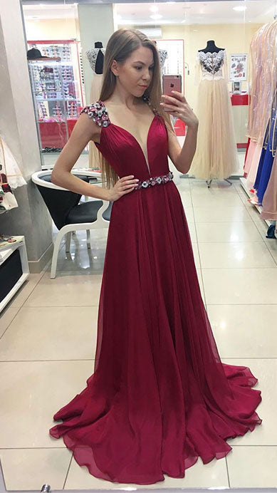 Burgundy chiffon long prom dress, burgundy evening dresses - shdress