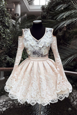 Champagne v neck lace short prom dress, lace homecoming dress