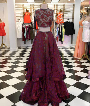 Burgundy lace two pieces long prom dress, burgundy evening dress - shdress