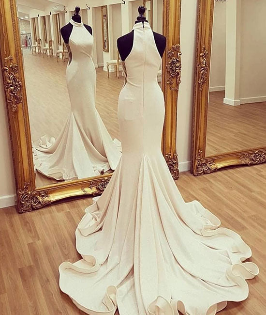 White mermaid satin long prom dress, white evening dress - shdress