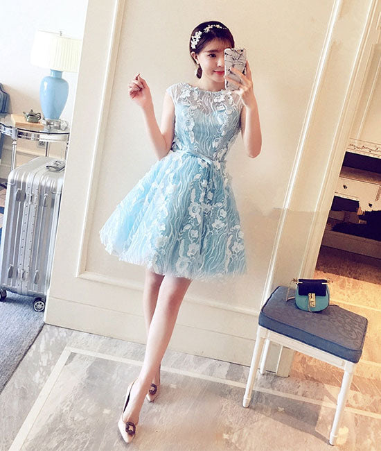 Cute blue round lace short prom dress, blue homecoming dress - shdress