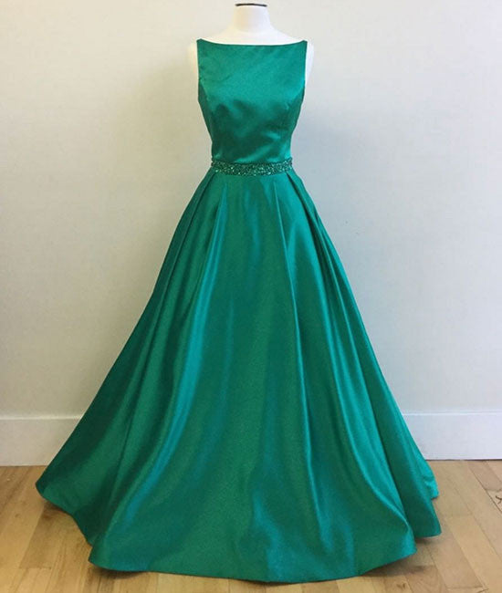 Green satin long prom dress, green evening dress