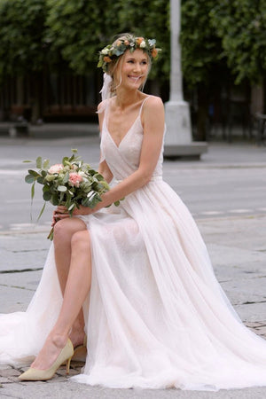 Simple v neck tulle white long wedding dress white bridal dress