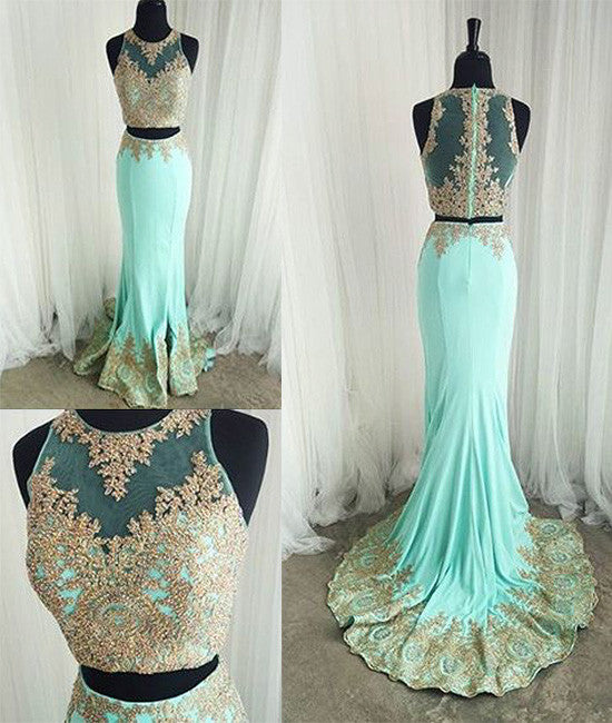 Cute two pieces green lace mermaid long prom dress, evening dress