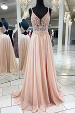 Pink v neck lace chiffon long prom dress, pink formal dress
