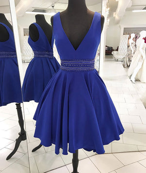 Blue v neck satin short prom dress, blue homecoming dress - shdress