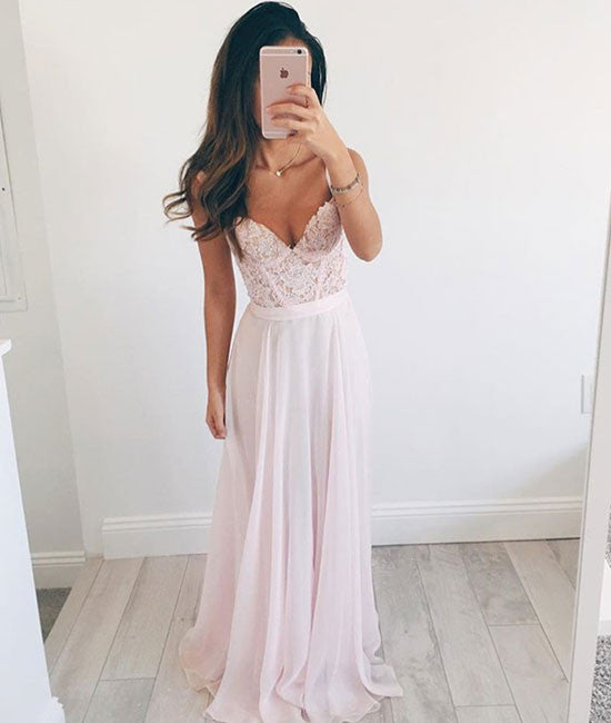 Pink Sweetheart A-line chiffon lace long prom dress, formal dress