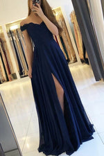 Dark blue lace chiffon long prom dress blue lace bridesmaid dress