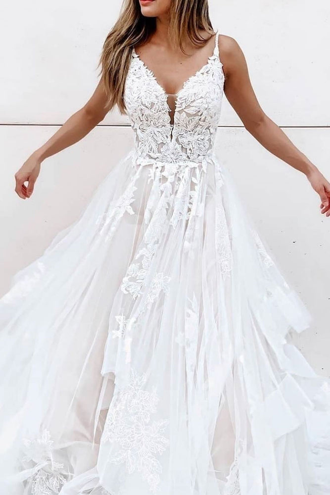 White A-line tulle lace long prom dress white lace long evening dress