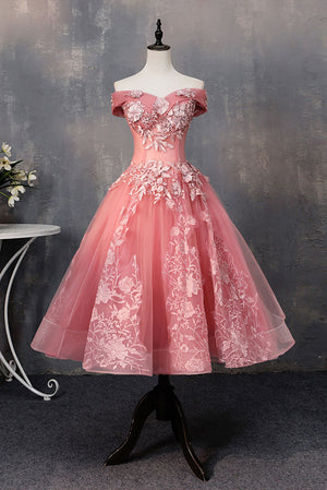 Pink tulle lace off shoulder short prom dress, pink evening dress