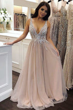Champagne v neck tulle sequin long prom dress, tulle evening dress