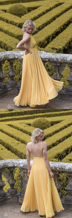 Yellow chiffon long prom dress, yellow evening dress