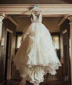 White v neck lace tulle long prom dress, white wedding dress