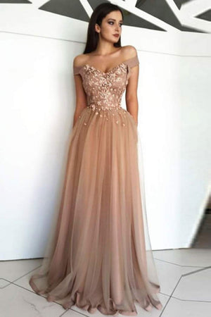 Champagne tulle off shoulder long prom dress, lace evening dress
