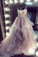 Champagne v neck tulle long prom dress champagne tulle formal dress