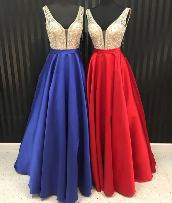 Unique v neck beads long prom dress, evening dress - shdress