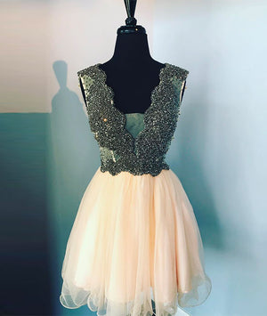 Cute v neck champagne tulle beads short prom dress, homecoming dress - shdress