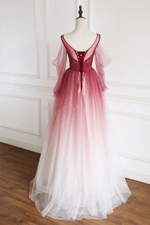 Burgundy tulle sequin long prom dress burgundy tulle formal dress