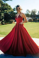 Simple v neck satin long prom dress red evening dress