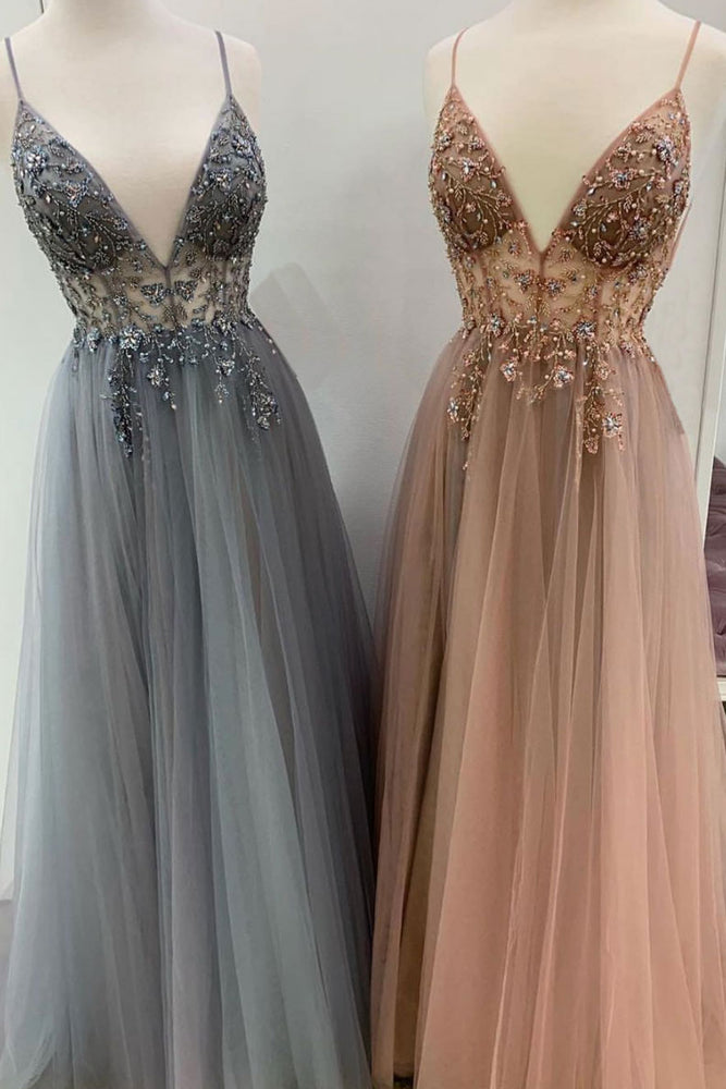 Elegant A line tulle lace long prom dress, tulle formal dress