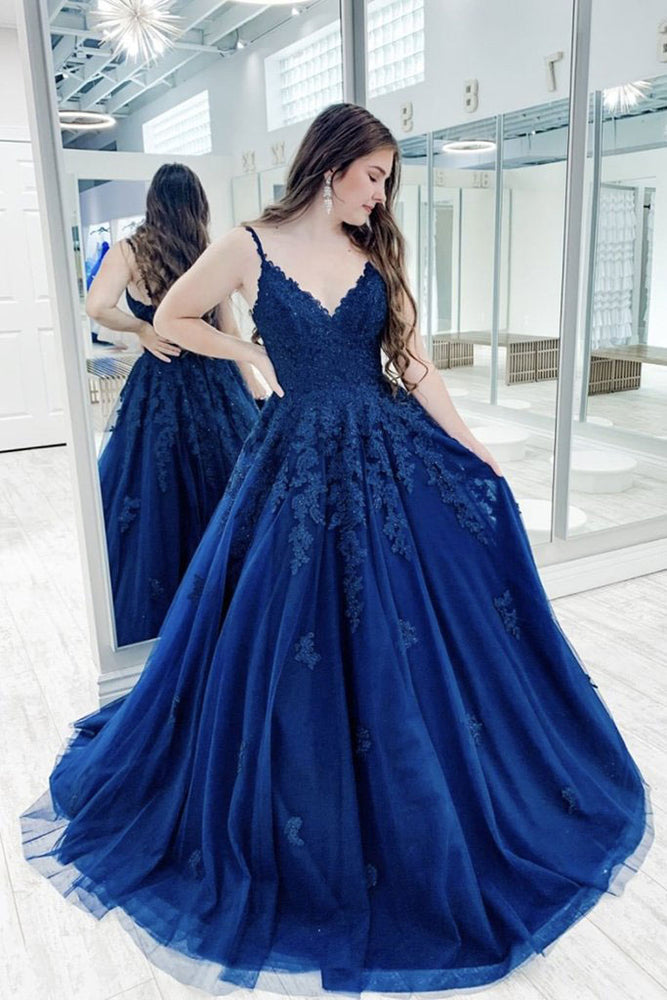 Blue v neck tulle lace long prom dress blue tulle bridesmaid dress
