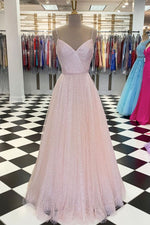 Pink v neck tulle sequin long prom dress pink tulle formal dress