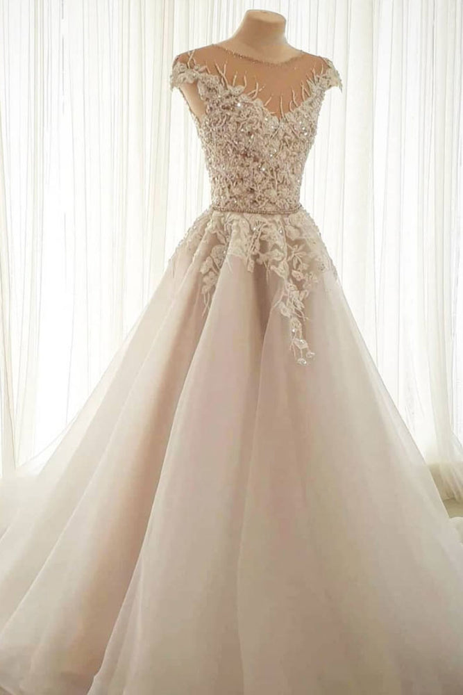 Light champagne tulle lace long prom dress tulle formal dress