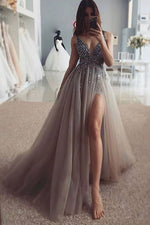 Gray tulle lace formal dress, gray tulle lace long prom dress