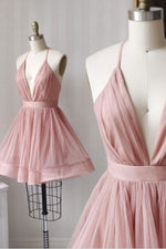 Simple v neck tulle pink short prom dress pink bridesmaid dress