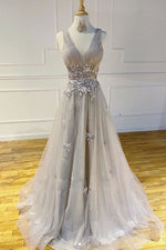 Gray  v  neck tulle lace long prom dress gray lace evening dress